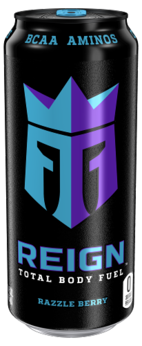 Reign Razzle Berry Energy Drink Perspective: front