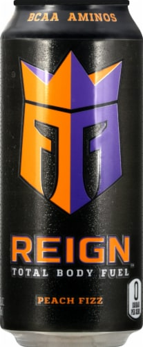 Reign Peach Fizz Energy Drink Perspective: front