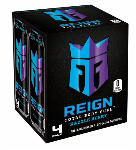 Reign Razzle Berry Energy Drinks Perspective: front