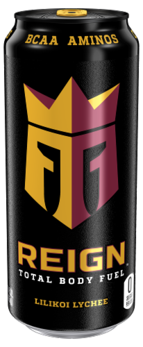 Reign Lilikoi Lychee Energy Drink Perspective: front