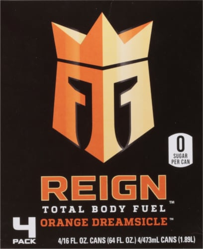 Reign Orange Dreamsicle Energy Drinks Perspective: front