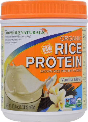 GrowingNaturals Vanilla Blast Organic Rice Protein Powder Perspective: front