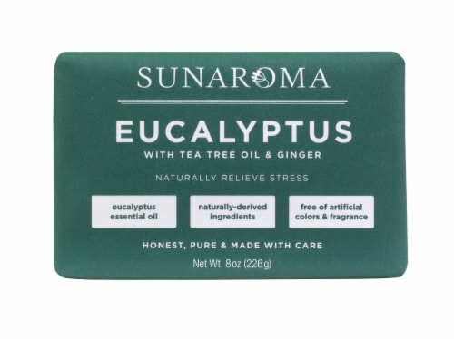 Sunaroma Eucalyptus with Tea Tree Oil & Ginger Bar Soap Perspective: front