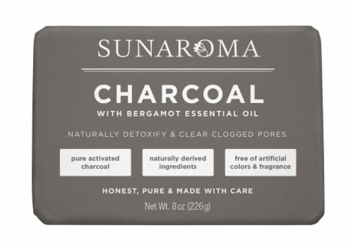 Sunaroma Charcoal with Bergamot Essential Oil Bar Soap Perspective: front