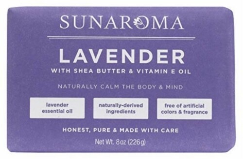 Sunaroma Lavender with Shea Butter & Vitamin E Oil Bar Soap Perspective: front