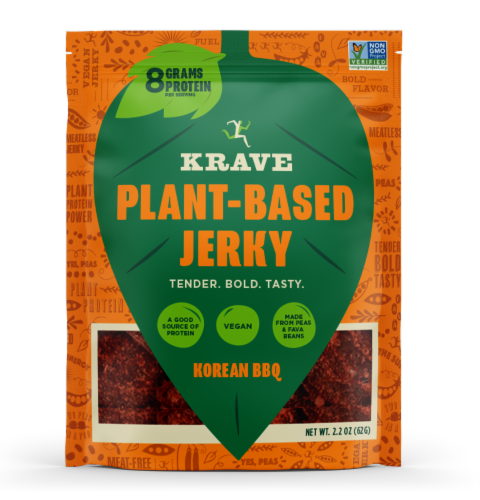 Krave Korean BBQ Plant-Based Jerky Perspective: front