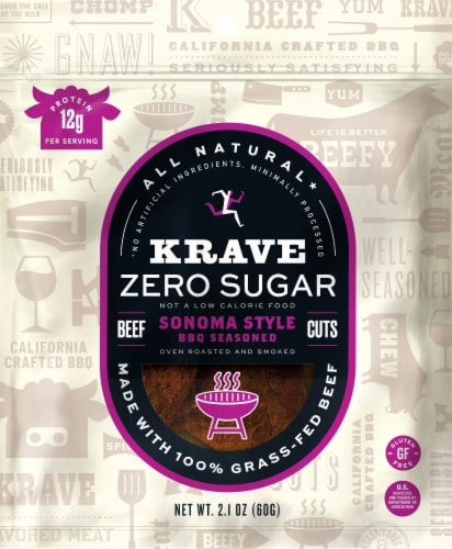 Krave Zero Sugar Sonoma Style BBQ Beef Jerky Perspective: front