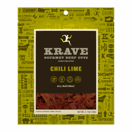 Krave Gourmet Beef Cuts Chili Lime Jerky Perspective: front