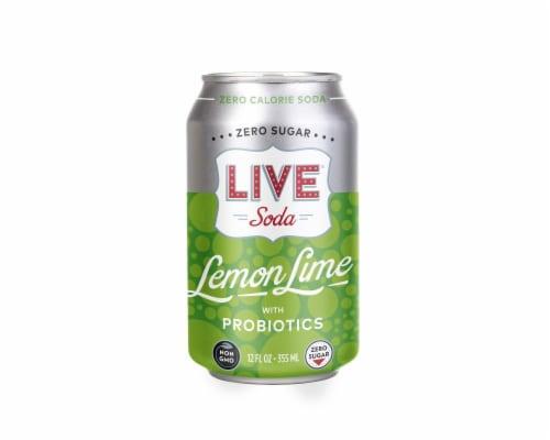 Live Soda Lemon Lime with Probiotics Perspective: front