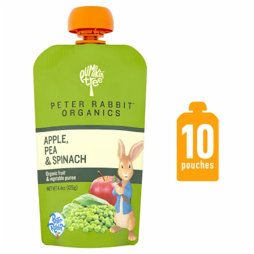 Peter Rabbit Organics Apple Pea & Spinach Puree Perspective: front