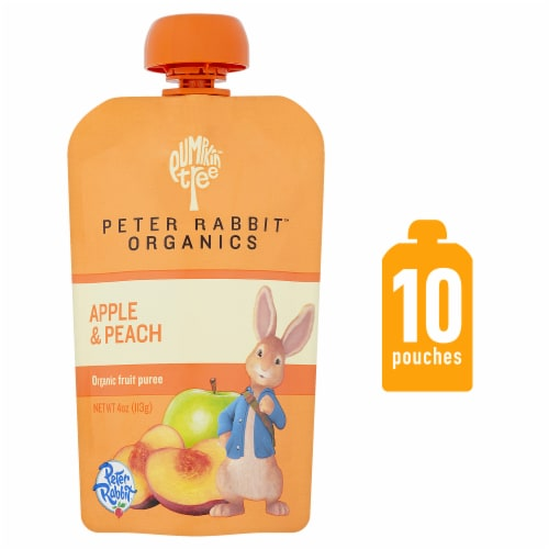 Peter Rabbit Organics Apple & Peach Puree Pouch Perspective: front