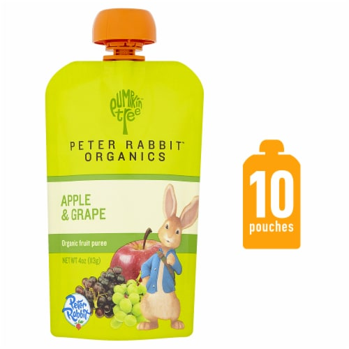 Peter Rabbit Organics Apple & Grape Baby Food Pouch Perspective: front