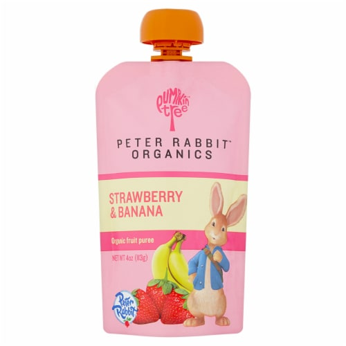 Peter Rabbit Organics Strawberry & Banana Puree Baby Food Pouch Perspective: front