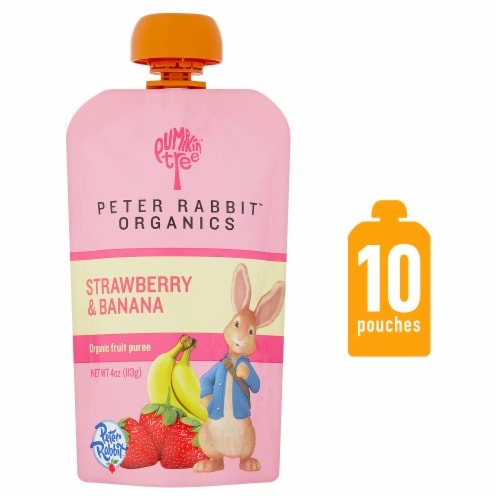 Peter Rabbit Organics Strawberry & Banana Baby Food Pouch Perspective: front