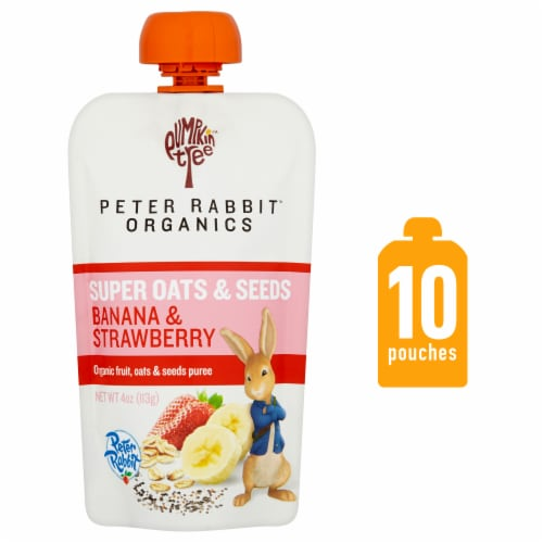 Peter Rabbit Organics Super Oats & Seeds Banana & Strawberry Baby Food Perspective: front
