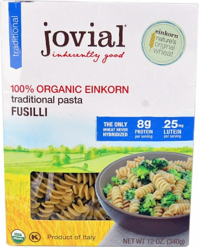 Jovial  100% Organic Einkorn Traditonal Pasta Fusilli Perspective: front
