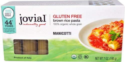 Jovial  Gluten Free Brown Rice Pasta Manicotti Perspective: front
