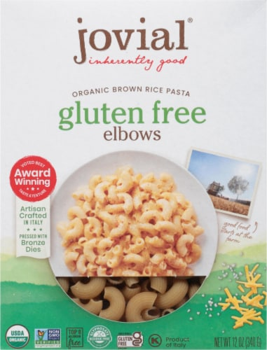 Jovial  Gluten Free Brown Rice Pasta Elbows Perspective: front
