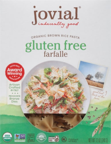Jovial Gluten Free Brown Rice Pasta Farfalle Perspective: front
