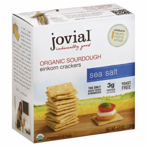 Jovial Organic Sourdough Einkorn Crackers Sea Salt Perspective: front