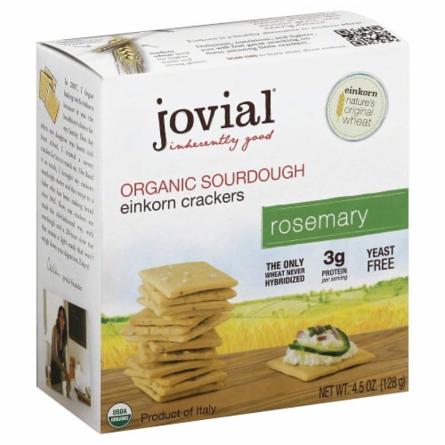 Jovial Organic Rosemary Sourdough Einkorn Crackers Perspective: front