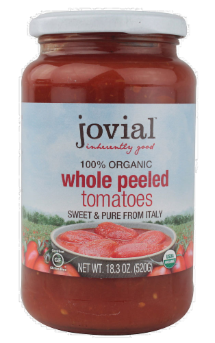 Jovial Organic Tomatoes Whole Peeled Perspective: front