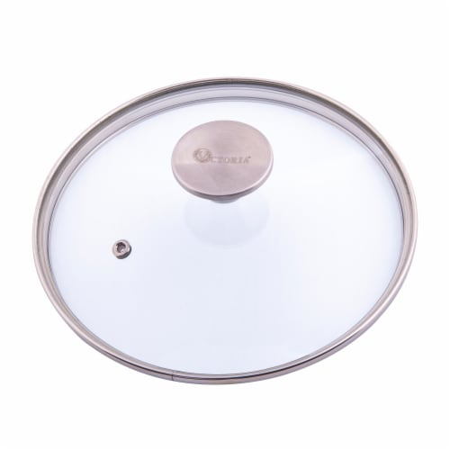 Victoria Stainless Steel Knob Glass Lid Perspective: front