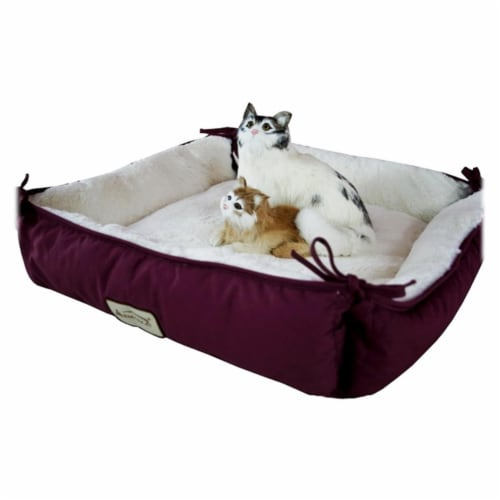 Aeromark C06HJH-MB Armarkat Pet Bed Cat Bed 16 x 16 x 6 - Burgundy & Ivory Perspective: front
