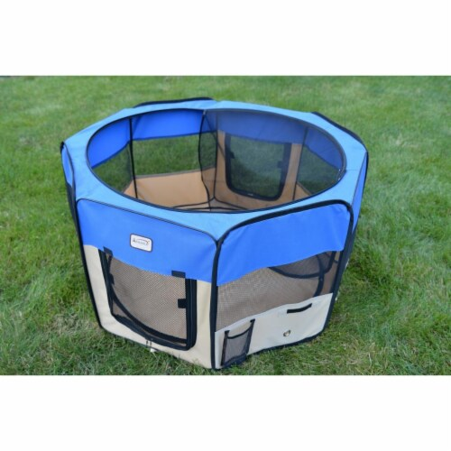 AeroMark International PP001B Portable Playpen, Blue & Beige Perspective: front