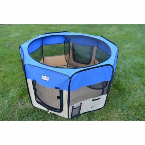 AeroMark International PP001B Portable Playpen, Blue & Beige Perspective: front
