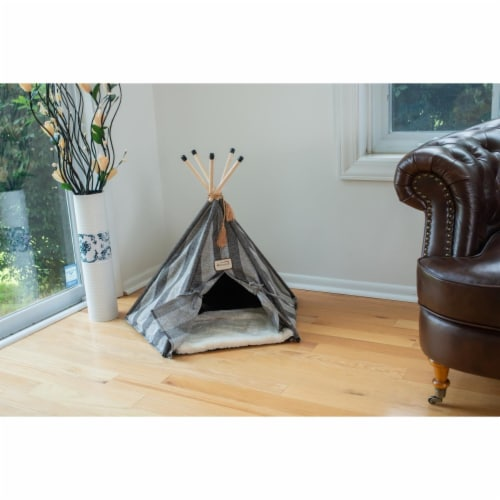 Armarkat C56HBS-SH Teepee Style with Striped Pattern Cat Bed Perspective: front
