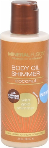 Mineral Fusion Macadamia Nut Gold Body Oil Shimmer Perspective: front
