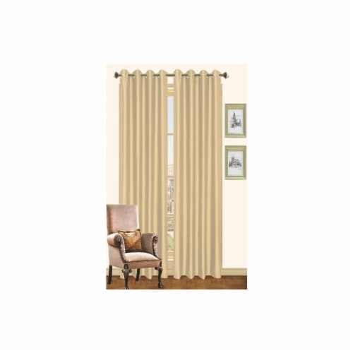 Kashi Home CP019904 57 x 90 In. Holly - Faux Silk Curtain Panel - Honey Perspective: front