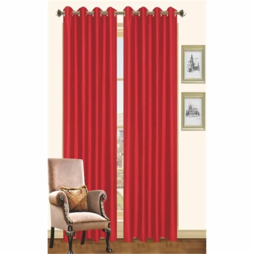Kashi Home CP019928 57 x 90 In. Holly - Faux Silk Curtain Panel - Ruby, Pack of 2 Perspective: front