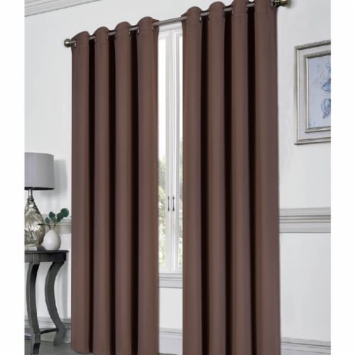 Kashi CP051430 54 x 84 Tessa Grommet Blackout Curtain, Chocolate Perspective: front