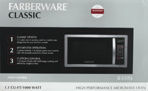Farberware Classic 1000-Watt High Performance Microwave Oven - Stainless Steel Perspective: front