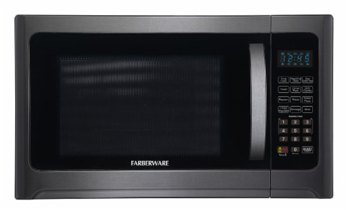 Farberware 1100-Watt Microwave Oven with Grill - Black / Stainless Steel Perspective: front