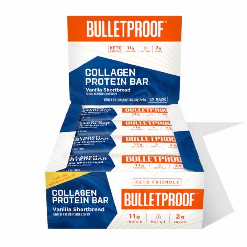 Bulletproof Vanilla Shortbread Collagen Protein Bars Perspective: front