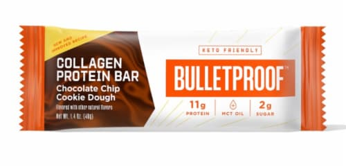 Bulletproof Chocolate Chip Cookie Dough Collagen Protein Bar Perspective: front