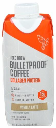 Bulletproof Vanilla Latte Collagen Protein Cold Brew Coffee Drink Perspective: front