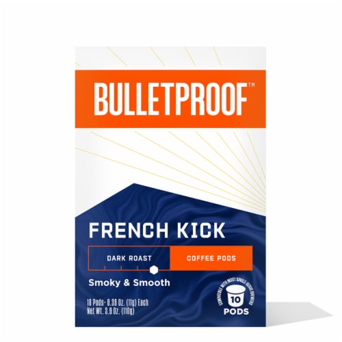 Bulletproof French Kick Dark Roast Single Serve Coffee Pods Perspective: front