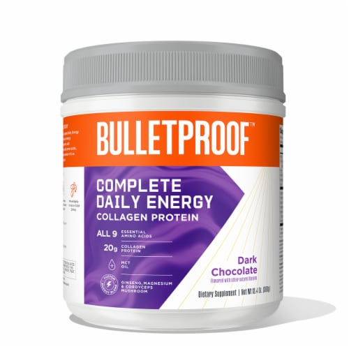 Bulletproof Complete Daily Energy Dark Chocolate Collagen Protein Powder Perspective: front