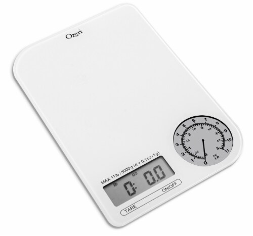 Ozeri Rev Digital Kitchen Scale with Electro-Mechanical Weight Dial Perspective: front