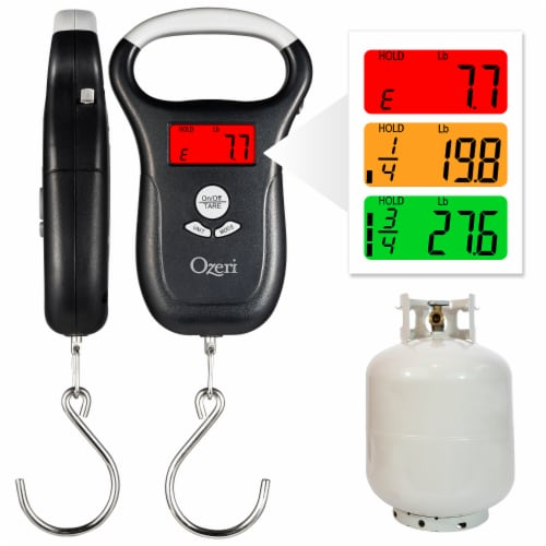 Ozeri LS2 Multifunction Propane Tank Scale and BBQ Gas Gauge, with Luggage and Fish Scale Perspective: front