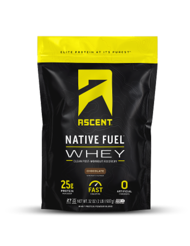 Ascent Native Fuel Chocolate Whey Protein Powder Perspective: front