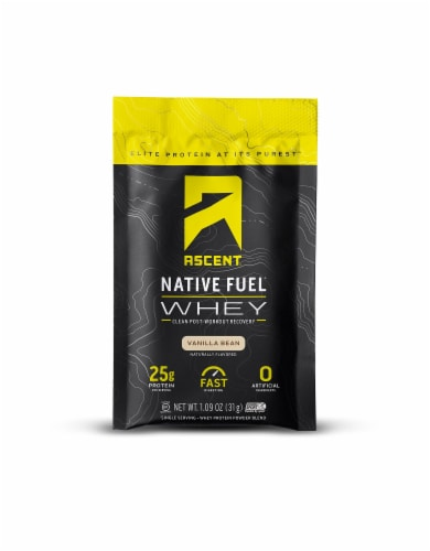 Ascent Vanilla Bean Single Serving Packet Protein Powder Mix Perspective: front