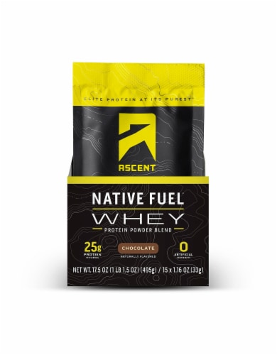 Ascent Native Fuel Chocolate Whey Protein Powder Blend Packets Perspective: front