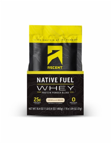 Ascent Native Fuel Vanilla Bean Whey Protein Powder Blend Packets Perspective: front