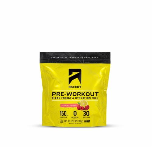 Ascent Raspberry Lemonade Pre-Workout Energy Drink Mix Perspective: front