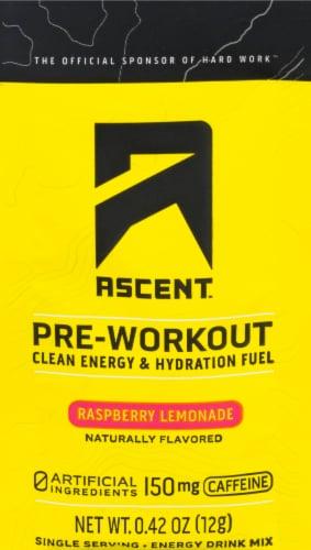 Ascent Pre-Workout Raspberry Lemonade Hydration Powder Perspective: front